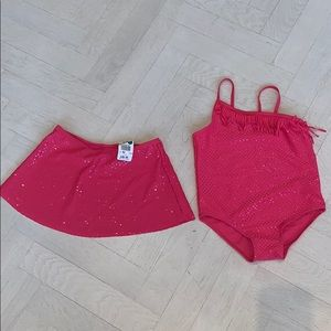 Pink Fuschia Girls bathing suit & coverup skirt